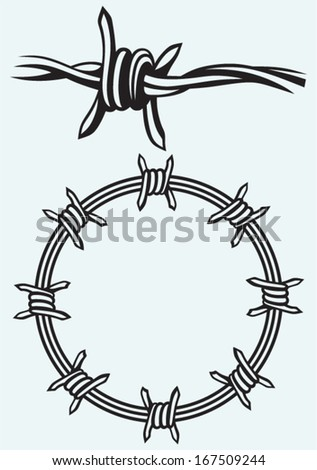 Barbed wire isolated on blue background - stock vector