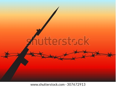 Barbed wire on sunset background with a rifle