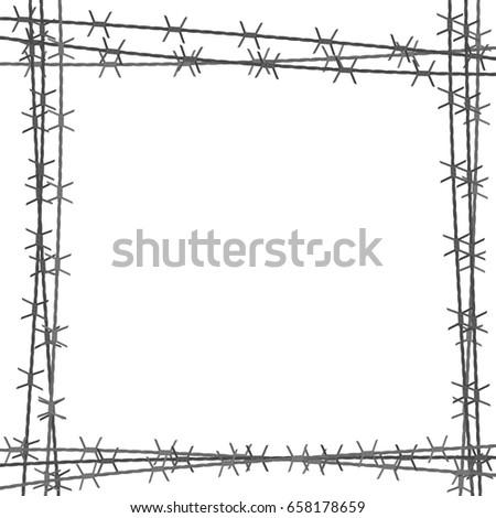 Barbed Wire Square Border Vector Illustration Stock Vector (2018 ...