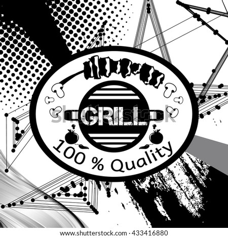 Barbeque, grill on abstract background. Retro vintage badges, ribbons and labels, hipster signboard. Vector, illustration. Black and white.