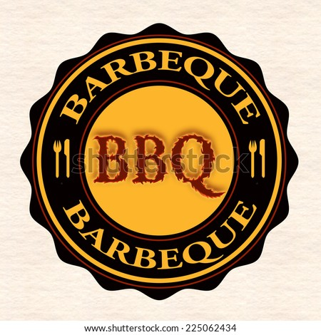 barbeque grunge stamp with on vector illustration - stock vector