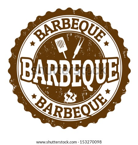 Barbeque vintage sign on white background, vector illustration - stock vector