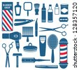 Barber and hairdresser related icons set - stock vector