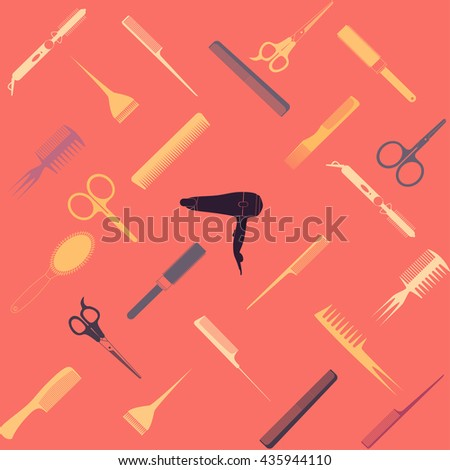 Barber and Hairdresser Tools Seamless Pattern. Barbershop texture. - stock vector