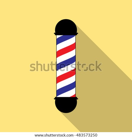 Barber pole flat on yellow background vector