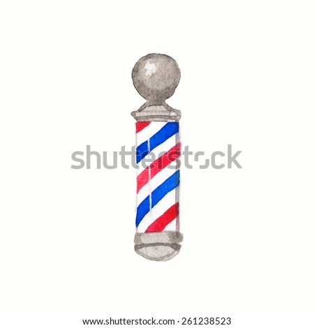 Barber pole. Watercolor barber poles on the white background, aquarelle. Barber shop. Vector illustration. Hand-drawn decorative element useful for invitations, scrapbooking, design.