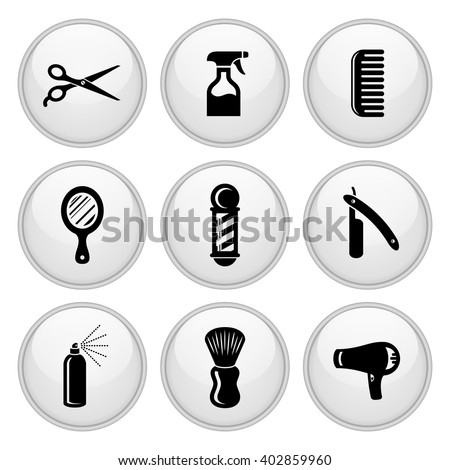Barber & Salon Hairdresser Icons White Glossy Button Icon Set - stock vector