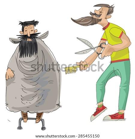 barber shop - cartoon - stock vector