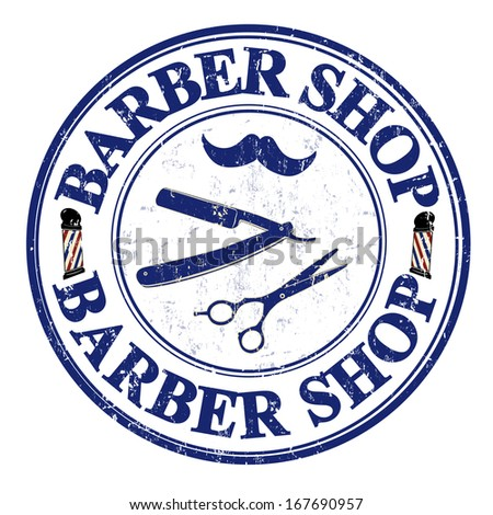 Barber shop grunge rubber stamp on white, vector illustration
