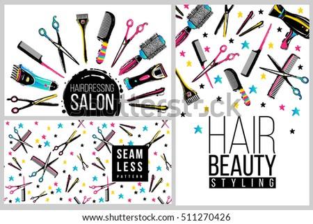 barber shop haircut beauty salons banner stock vector royalty free