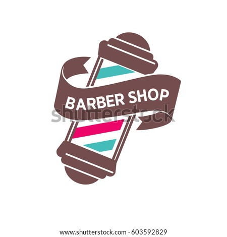 Barber Shop Logo Template Or Vector Icon Retro Vintage Barbershop Salon Pole Signage And Ribbon