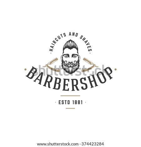 Barber Shop Logo Vector Template. For Label, Badge, Sign or Advertising. Barber shop Logo, Hipster Man, Hairdresser Logo. Hipster Silhouette. Hairstyle Man with Mustache and Beard.  - stock vector