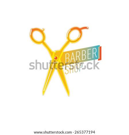 Barber shop Scissor label. - stock vector