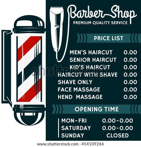 barber shop vector price list template stock vector 454109266 shutterstock. Black Bedroom Furniture Sets. Home Design Ideas