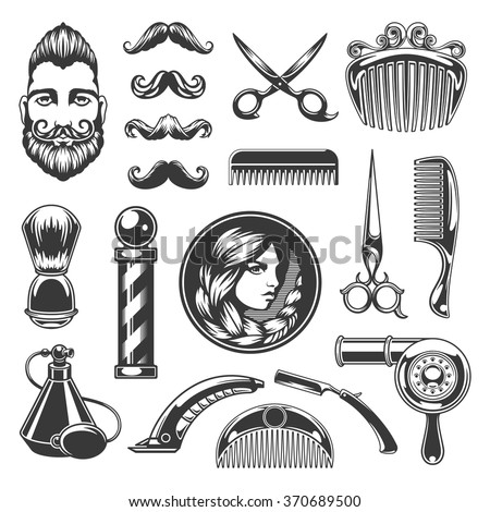 Barber Shop Vector Silhouettes and Icons Set. For Logos, Labels, Badges and Advertising. Beauty Salon Silhouette, Barber Pole Silhouette, Scissors Silhouette, Razor Silhouette, Woman Face, Man Face. - stock vector
