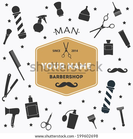 Barber shop vintage background with barber shop label and tools - stock vector