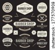 Barber shop vintage retro vector flourish and calligraphic typographic design elements - stock vector