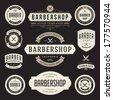 Barber shop vintage retro vector flourish and calligraphic typographic design elements - stock photo