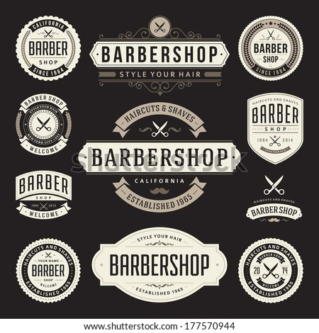 Barber shop vintage retro vector flourish and calligraphic typographic design elements - stock vector