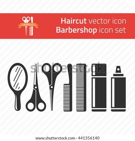 Barber tools and haircut icons set. Barbershop symbols. - stock vector