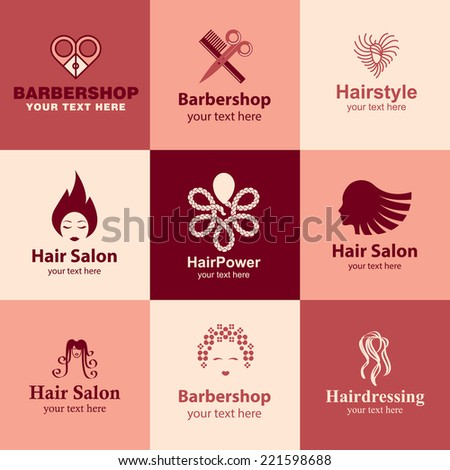 barbershop flat icons set logo ideas for brand - stock vector