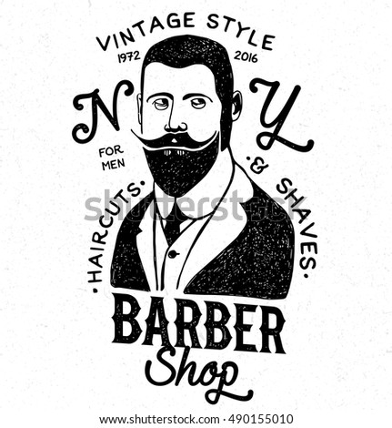 Barbershop label. Black and white hipster logo. Hand drawn barber shop logotype.