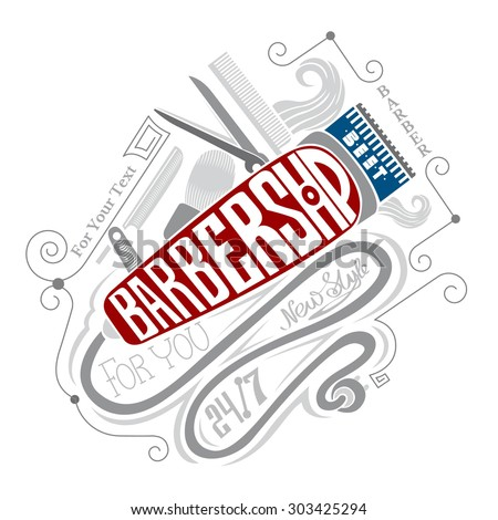 barbershop lettering on hair clipper and different barber's equipment. - stock vector