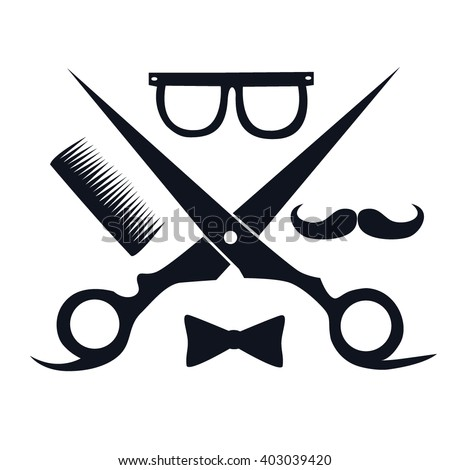 Barbershop Logo Scissors Mustache Comb Barbershop Stock ...
