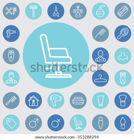 barbershop outline, thin, flat, digital icon set for web and mobile - stock vector