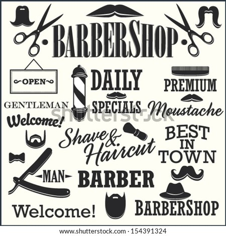 Barbershop Retro Creation Kit - Mustaches, Beards, Titles and other - stock vector