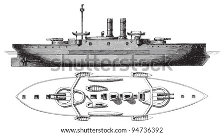 Barbette battleship Collingwood (England) / vintage illustration from Meyers Konversations-Lexikon 1897 - stock vector