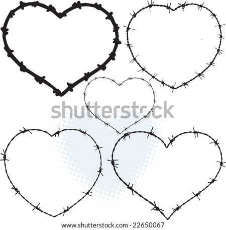 Barbwire heart shapes - stock vector
