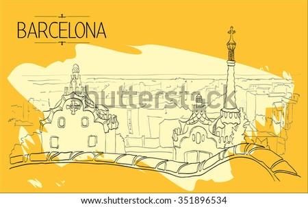Barcelona Gaudi park illustration. Vintage illustration, hand drawn, orange colored sketch  - stock vector