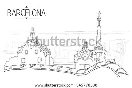 Barcelona Gaudi park illustration. Vintage illustration, hand drawn, sketch - stock vector