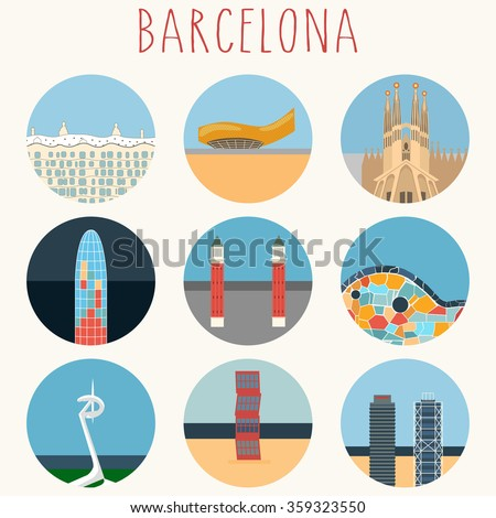 Barcelona landmarks & town symbols - Icons Set - Vector EPS10 - stock vector