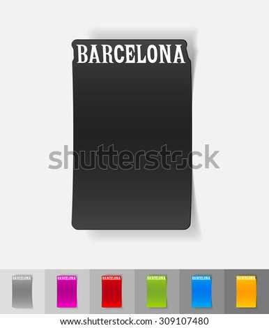 Barcelona paper sticker with shadow. Vector illustration