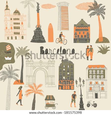 Barcelona Print Design - stock vector