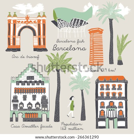 Barcelona. Print Design - stock vector