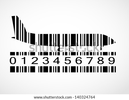 Barcode airplane image vector illustration