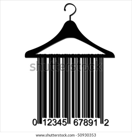 barcode clothes hanger,  Isolated over background and groups, vector illustration - stock vector