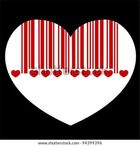 barcode heart,  vector - stock vector