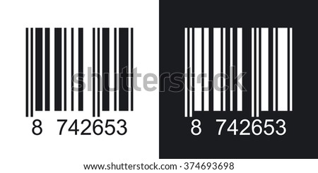 Barcode icon, vector illustration. Two-tone version on black and white background
