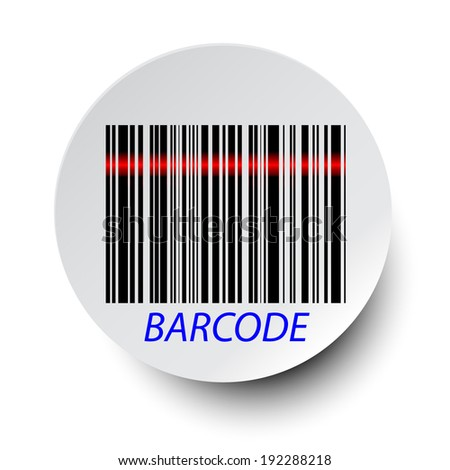 barcode icon with red laser beam  - stock vector
