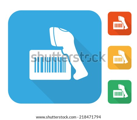 Barcode label with reader icon set multi color set. - stock vector