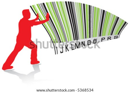 barcode, objection, protest, disapproval - stock vector