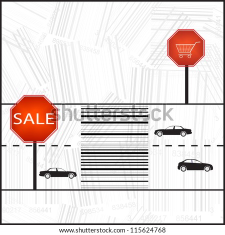 Barcode sign as a zebra crossing. Vector Illustration. - stock vector