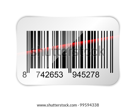 Barcode sticker with red laser beam. Vector illustration - stock vector