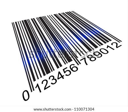 Barcode under scanner light - stock vector
