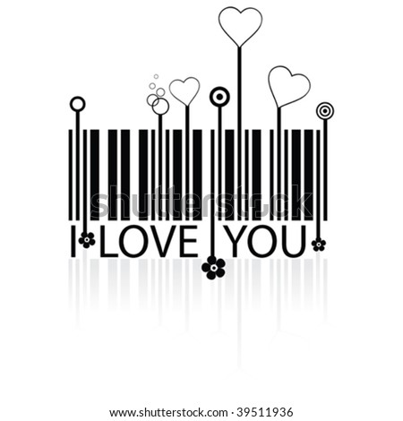 Barcode with love symbols - conceptual vector - stock vector