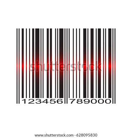 Barcode with red laser scan